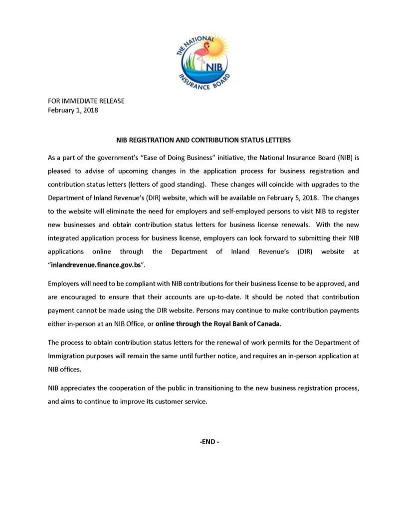 Service Letter From Employer from www.nib-bahamas.com