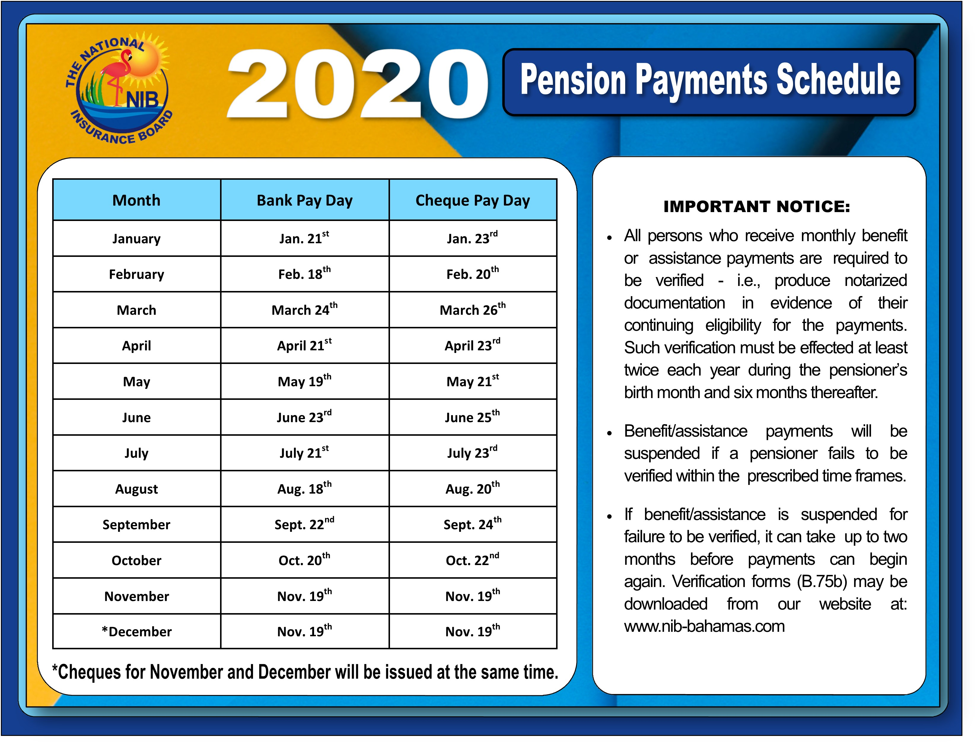 NIB - News - Pension Payment Schedule 2020