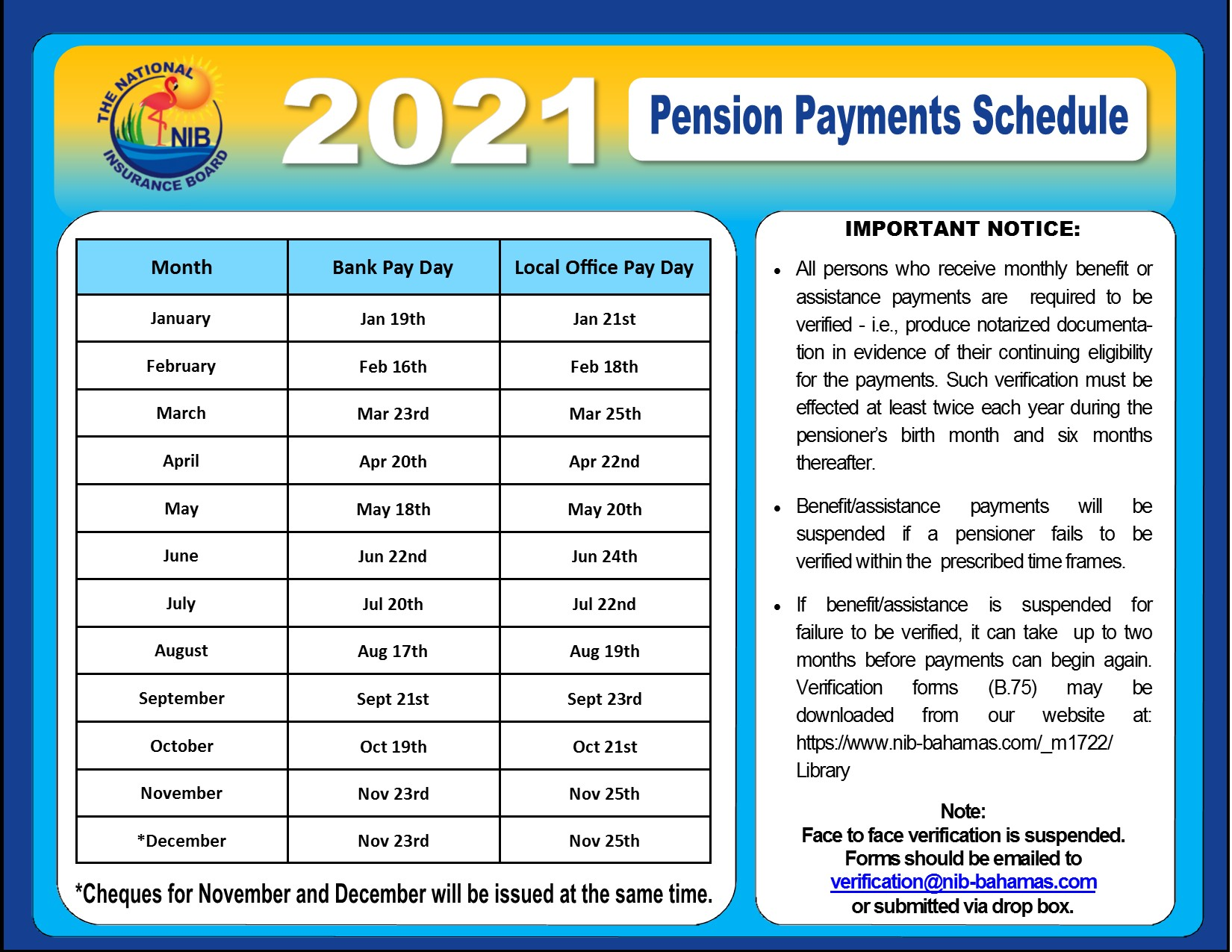 NIB - News - Pension Payment Schedule 2021