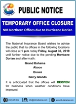 Temporary Closure of Berry Islands office Due to Pending Hurricane Dorian