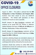 Notice: Office closures and benefit cheque collection in New Providence and Grand Bahama