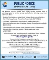 REQUEST FOR TENDER - GENERAL REPAIRS ABACO